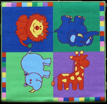 Teppich Elefant-Löwe-Giraffe und Nashorn