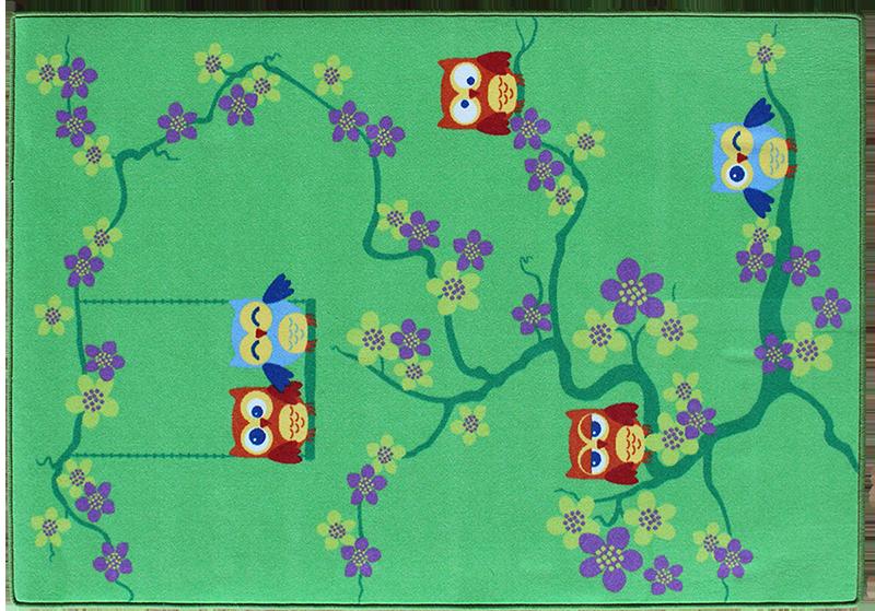 Teppich Eulen grün