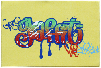 Teppich Graffiti gelb